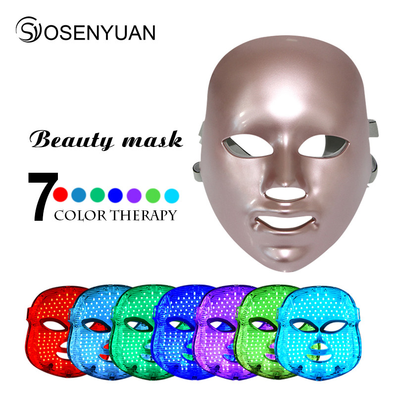 2018 newest PDT photon led facial mask 7 colors led light therapy skin rejuvenation wrinkle removal beauty machine facial mask in Powered Facial Cleansing Devices from Home Appliances