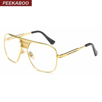Peekaboo новые черные очки для глаз оправы для мужчин и женщин высокое качество большие золотые оправы мужские оправы брендовые дизайнерские м... >> peekaboo Official Store