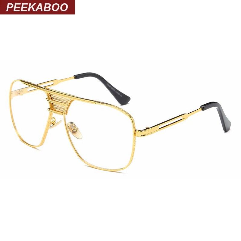 Peekaboo neue schwarze brille rahmen für männer frauen hohe qualität große gold brille männer rahmen marke designer metall