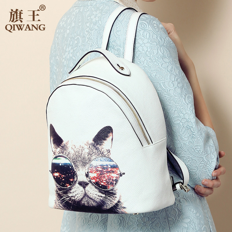 Fashion  Genuine Leather Backpack Women Fashion Cute Cat Backpack Lady Cow Leather Luxury College Bag for Women