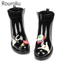 Rouroliu Women Fashion Casual Rainboots Slip-on Waterproof Water Shoes Wellies Ankle Cartoon Rain Boots Woman RT311
