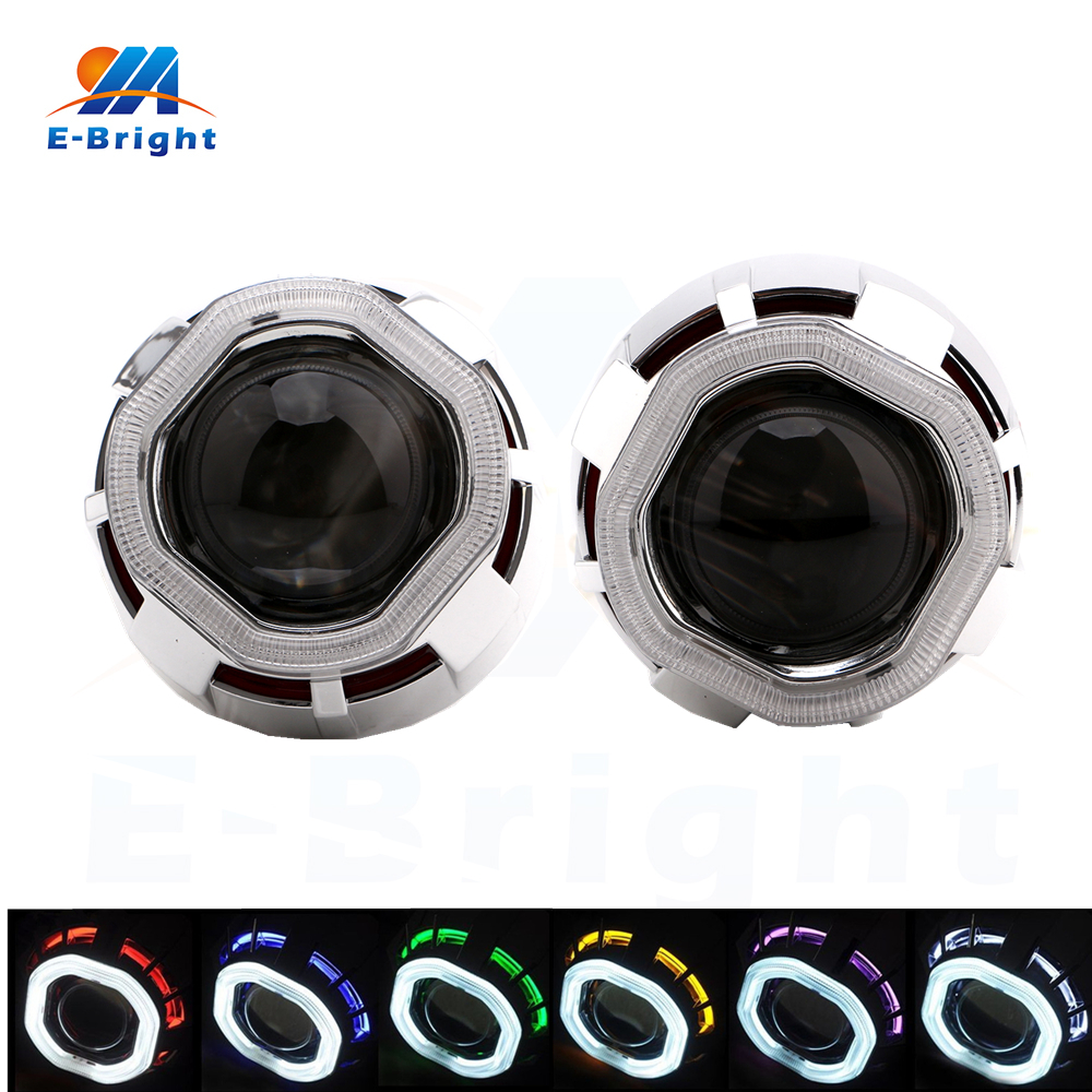 2pcs 12v 35w xenon projector lens double angel eyes ccfl headlight with lamp starter wiring. Black Bedroom Furniture Sets. Home Design Ideas