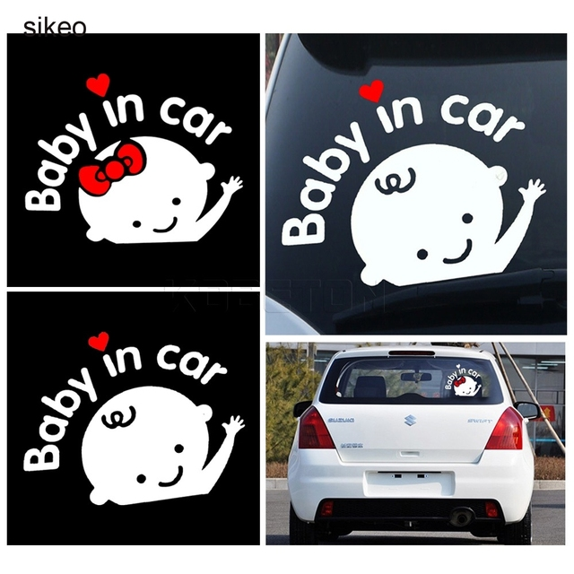 Sikeo 2 pcs 3d cartoon car stickers lovely boy girl baby car sticker for car