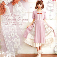 Spring Mori Girl Lace Bow Dress Women Japanese Sweet Short Sleeved Embroidery Patchwork Female Kawaii Lolita Princess Dress A207