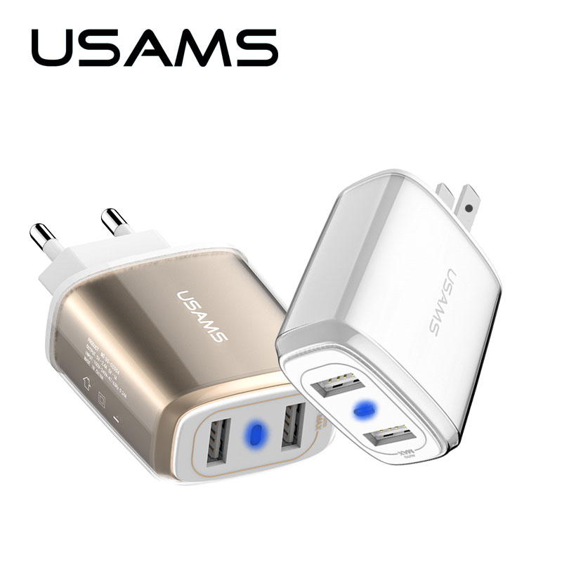 USAMS USB Charger 5V 3.4A Fast Charger US EU Travel Charger s