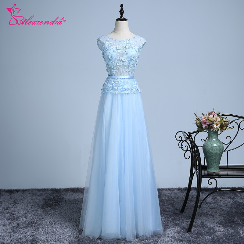 Alexzendra Tulle A Line   Prom     Dresses   2018 Long Cap Sleeves Scoop Neck Formal Evening   Dress   Party   Dresses   for Girls