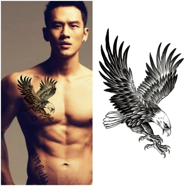cool black eagle tattoo waterproof men flying eagle tattoos fake tattoo stickers temporary. Black Bedroom Furniture Sets. Home Design Ideas