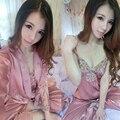 Sexy mulheres rendas camisola robe de seda sets comprimento calças suspender saia de três peças conjunto sexy tentação set lounge primavera outono