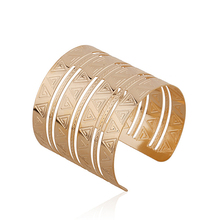 Hot Women Punk Wide Golden Open Hand Cuff Bracelet Bangle Jewelry Present Adjustable  7F2Y BE8Z