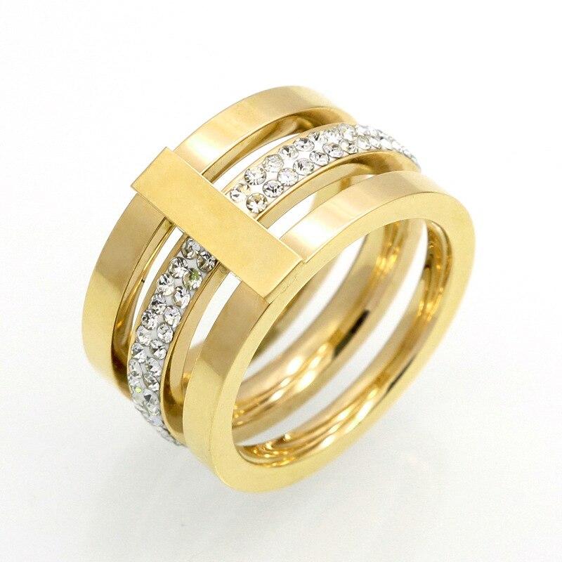 2017 Для женщин покрытие вакуум Нержавеющаясталь модные Кольца Мода Золотые украшения кольца-высокое качество