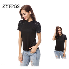 ZYFPGS 2019 Summer Pearls Beading Letters T Shirt Short Sleeve O Neck black Tees Ladies Casual Chic Tops Befree Hot Sale L0513