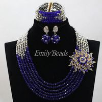 Gray/Royal Blue Nigerian Wedding African Beads Jewelry Set Crystal Beads Indian Necklace Set 6 Layers Free Shipping ALJ568
