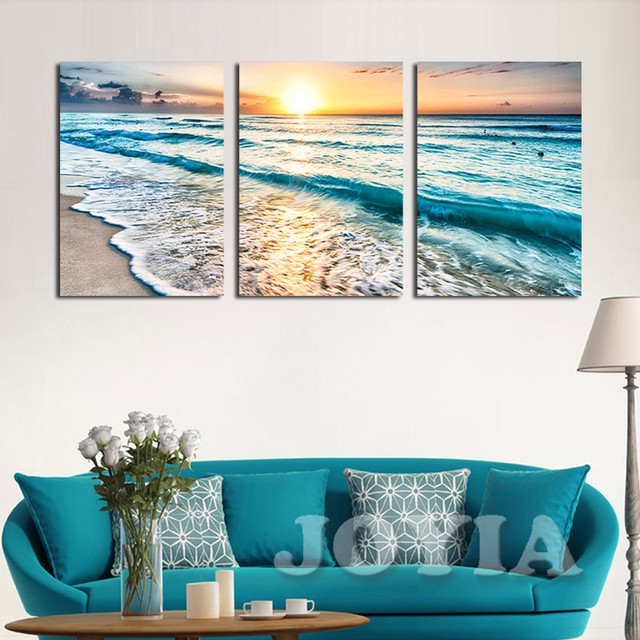Etonnant Seascape Sunset Triptych Wall Art 3 Panel Sea Waves Photography Frameless  Painting Set Prints Canvas Art