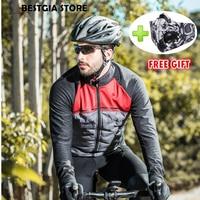 Santic Новинка 2018 года зимние ветрозащитная куртка для езды термальность флис велосипед куртка пальто для мужчин Тур де Франс Сверхлегкий под