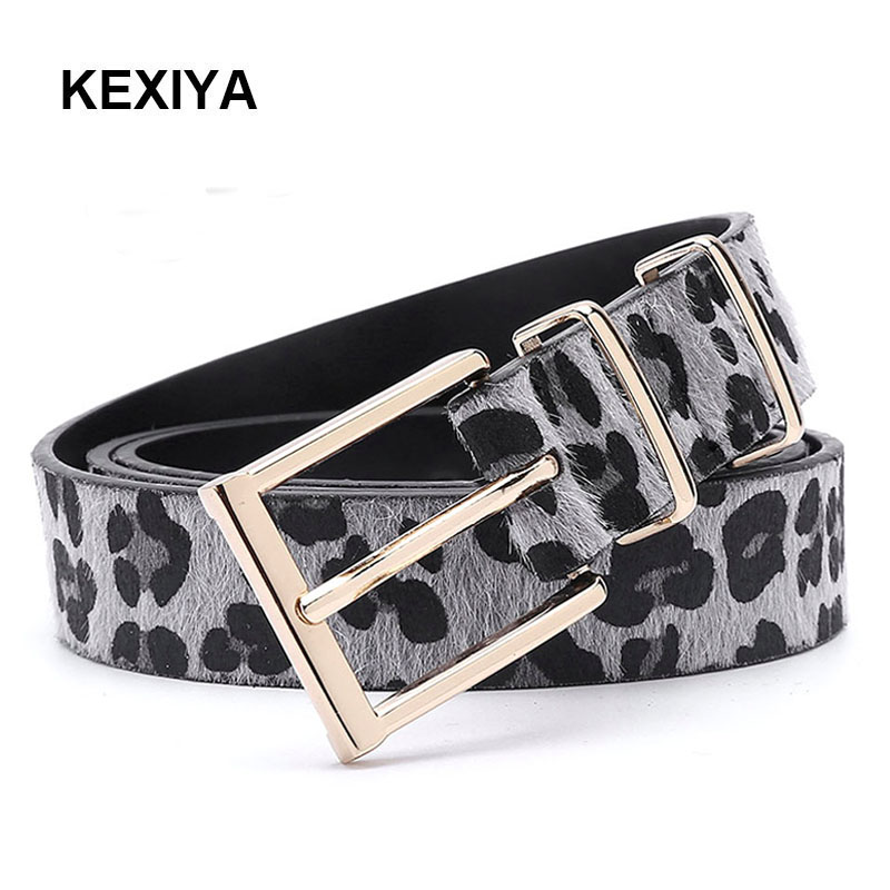 KEXIYA Women   Belt   Horsehair Leopard   Belt   Leopard Rose Gold Metallic Buckle Woman   Belt   Fashion Accessories Luxurious Jeans   Belt