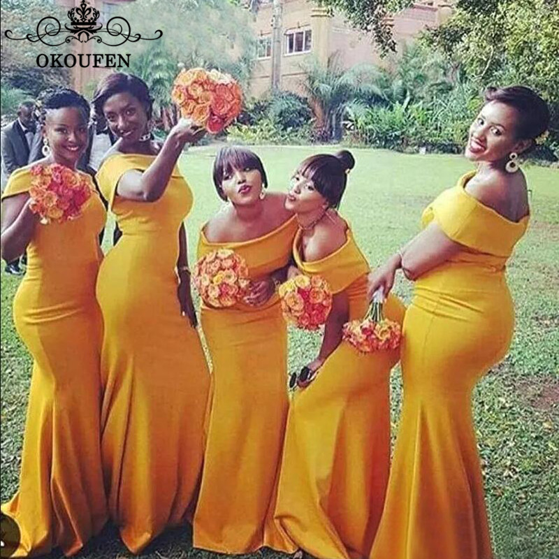 OKOUFEN Gold Yellow Satin Mermaid   Bridesmaid     Dresses   Long 2018 Boat Neck Plus Size African Women Maid Of Honor   Dress   Party Gown