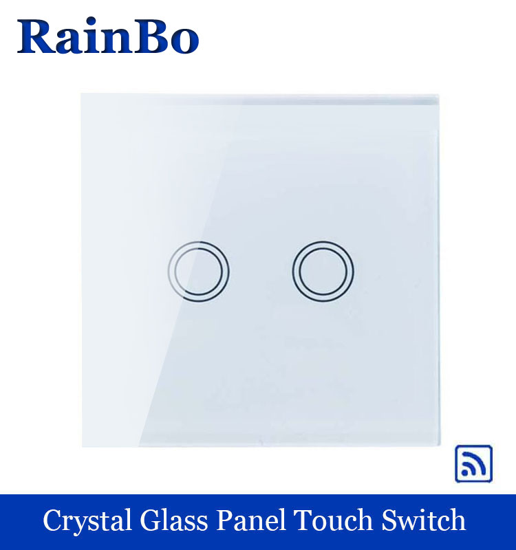 rainbo Crystal Glass Panel  EU Wall Switch 110~250V Remote Touch Switch Screen Wall Light Switches 2gang1way A1923XW/B 1 way 3 gang crystal glass panel touch screen home light wall switch remote controller ac100 250v best price