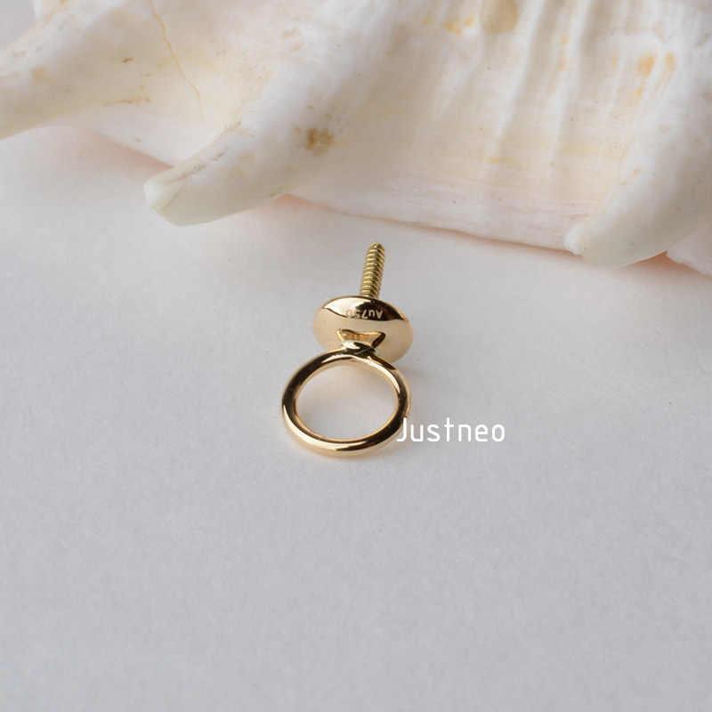 18K Gold จี้ลูกปัดหมวก Eyepin และปิดแหวนกระโดด, 18 กะรัต 18ct Dangle ต่างหูและจี้หา