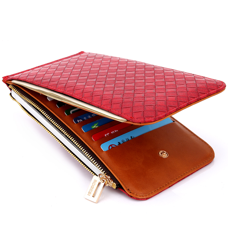 Bogesi Clutch Leather Card Purse Women Lady Long Solid Wallet Red Money Purses Zipper Coin Phone Pocket Carteira Portfel 822