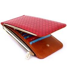 Brand Clutch Leather Card Purse Women Lady Long Solid Wallet Red Money Purses Zipper Coin Phone Pocket Carteira Portfel 822