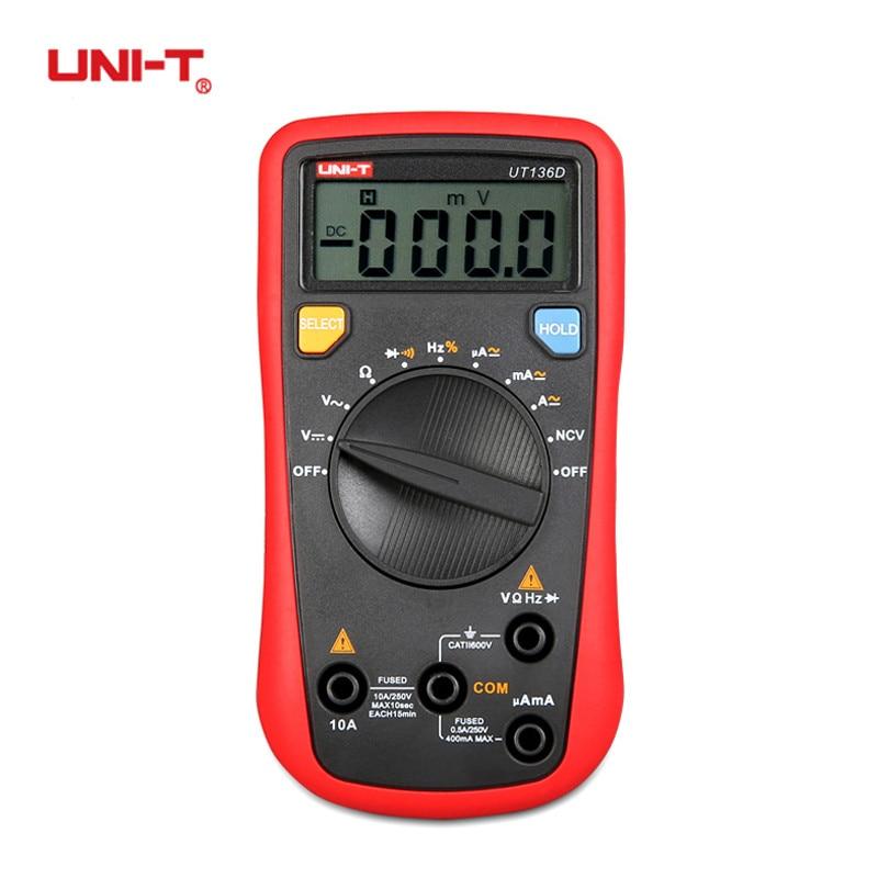 UNI-T UT136B UT136C Digital Multimeter Auto Range AC DC Frequency Resistance Tester Ohm Diode Temperature Test Ammeter Voltmeter цена