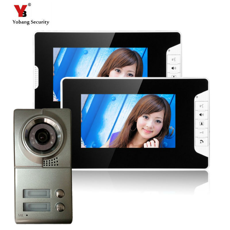 Yobang Security freeship 7-inch TFT LCD building video intercom system doorbell villa door intercom with High Definition Camera freeship 10 door intercom security system hands free monitor color tft lcd screen intercom system video door phone for villa