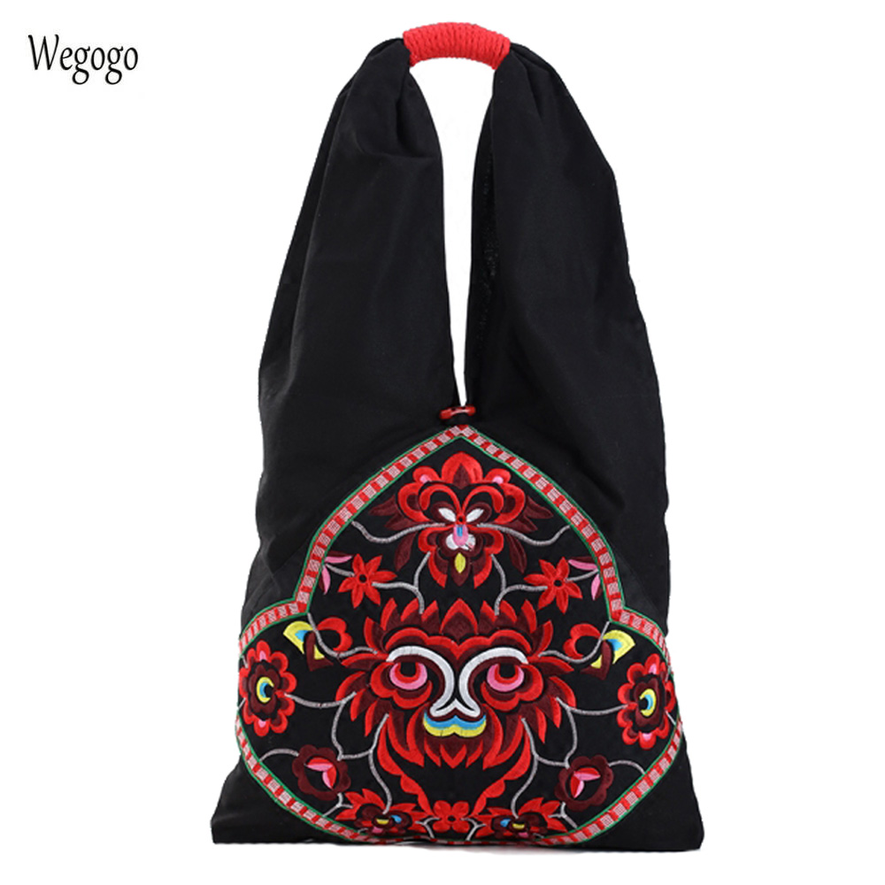 New Women Handbags Ethnic Embroidery Flower Bag Large Capacity Shoulder Bag Canvas Retro Female Totes Big Shopping Travel Bags 2018 new women bag ladies retro canvas shoulder bag with strap travel hobo big capacity casual totes handbags bolsa feminina