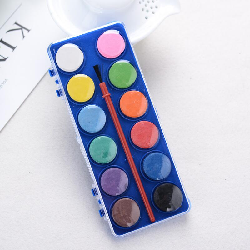 12 Colors Solid Watercolor Paints With Painting Brush For Children Kid DIY Art Painting Drawing Tools Set New