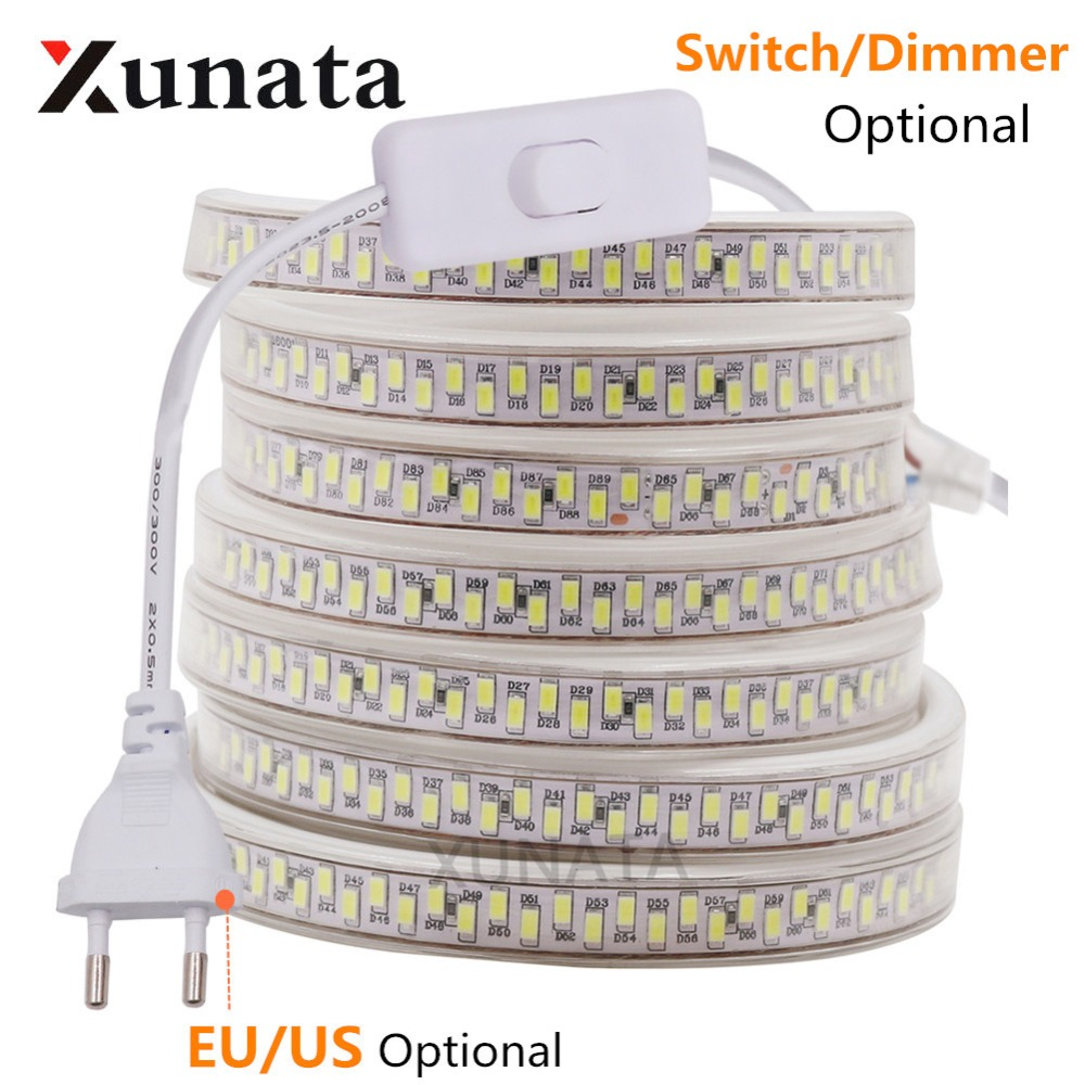 SMD 5630 LED Strip Waterproof 180Leds/m Double Row Kitchen Outdoor Garden Lamp LED Strip Light Dimmerable US AC110V/EU 220V