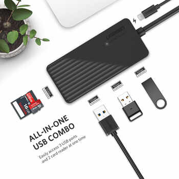 Ugreen 5-in-1 USB HUB with Card Reader 3 Port USB 3.0 HUB Splitter Micro USB Power Port for iMac Laptop Accessories USB HUB