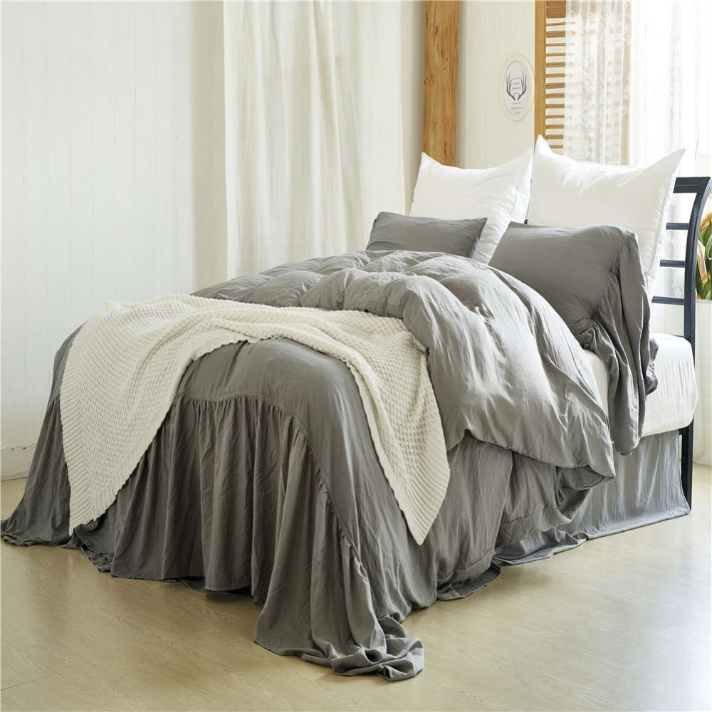 Luxury Washed Cotton Fish Tail Bedding Set Duvet Cover Set Pillowcases Sheet Comforter Bedding Sets Home Textile Bedclothes in Bedding Sets from Home Garden