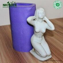 Большой размер 3D женщина силиконовые формы мыла для украшения торта DIY Плесень