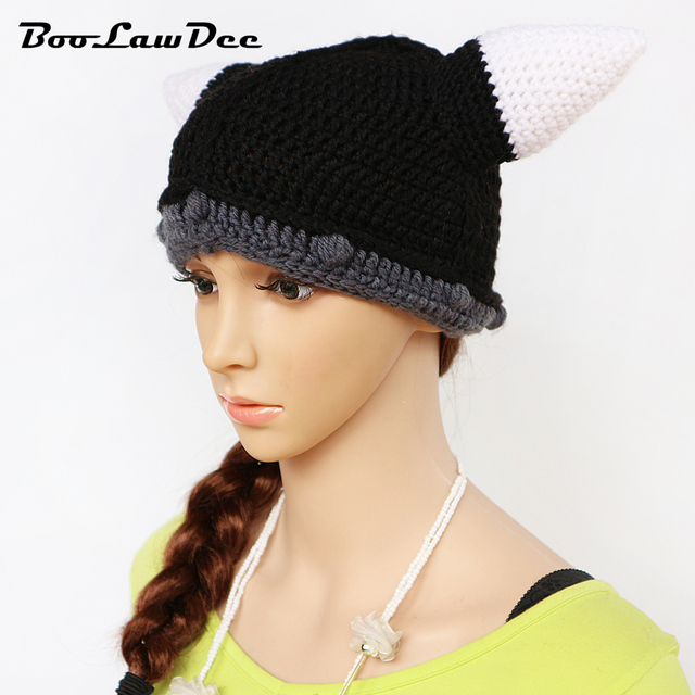 4a61c4a75dd113 BooLawDee men and women novelty winter character beanie hat crochet  handmade funny Halloween chapeau patchwork free size M097