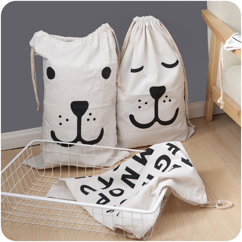 Bundle Cotton Clothing Storage Bags Box Bin Black-and-white simplicity Bear Pattern Canvas Clothes Dormitory Sundry Underwear