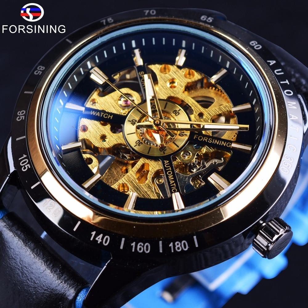 Forsining 2017 Transparent Racing Design Waterproof Leather Belt Men Watch Top Brand Luxury Automatic Skeleton Wrist Watch Clock