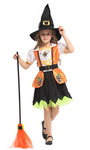 Shanghai Story Halloween children's clothing girls princess cosplay cloak witch bat pumpkin costume