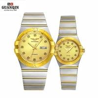GUANQIN золото пару Часы Для мужчин автоматические механические часы Для женщин кварцевые часы роскошные любитель смотреть Водонепроницаемый