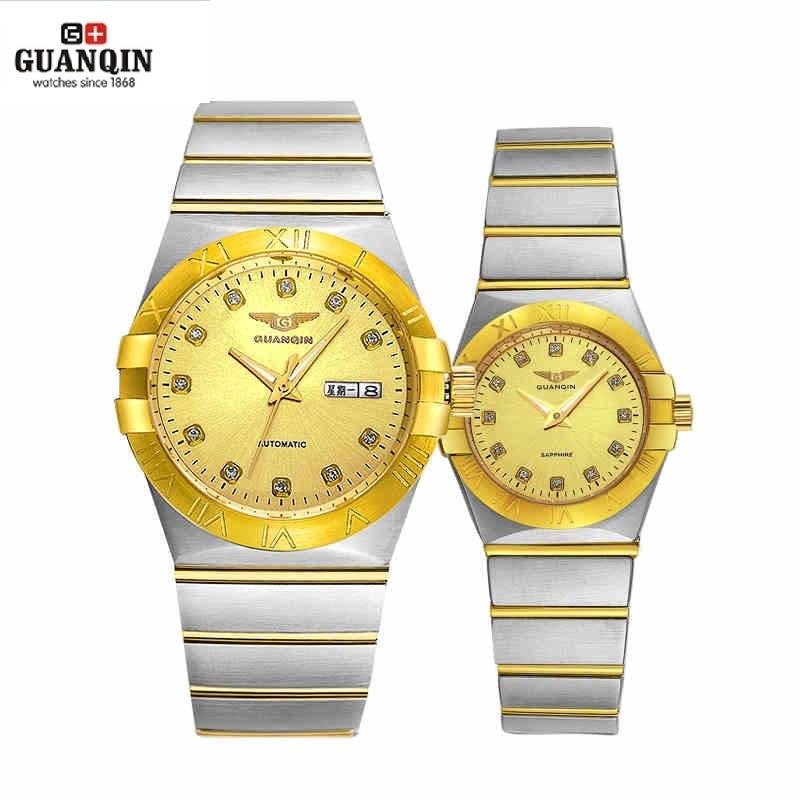 GUANQIN Gold Couple Watches Men Automatic Mechanical Watch Women Quartz Watch Luxury Lover Watch Waterproof Fashion Wristwatches