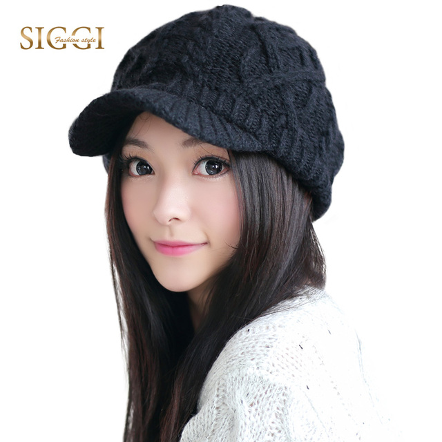 SIGGI Winter Warm Solid 3 Colors Women Knitted Beanies Hat Visor BIll  Thread Woven Brim Overlock 7129dc2f3007