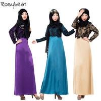 Muslim Women's Hui style Lace Fake Two Piece Dress Large Size M XL Arab Middle Eastern Fashion Dress Abaya Turkish Dresses