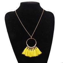 081a8b11476a Lkcflbmfm étnico Vintage amarillo largo borla collar de lujo Maxi verde  seda hilo étnico Gran Collar para mujer joyería regalo