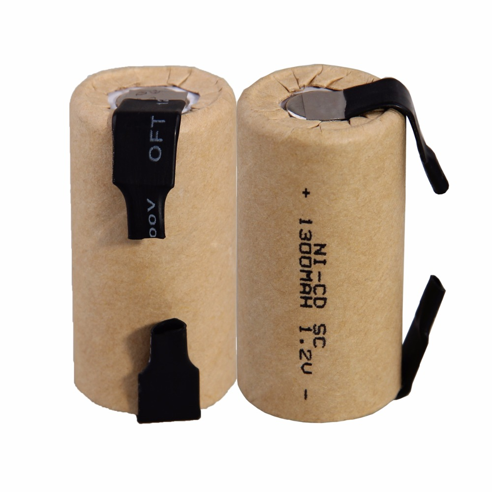 2 pcs SC 1300mah 1.2v battery NICD rechargeable batteries for emergency light toy equipment power 4.25cm*2.2cm for power tools