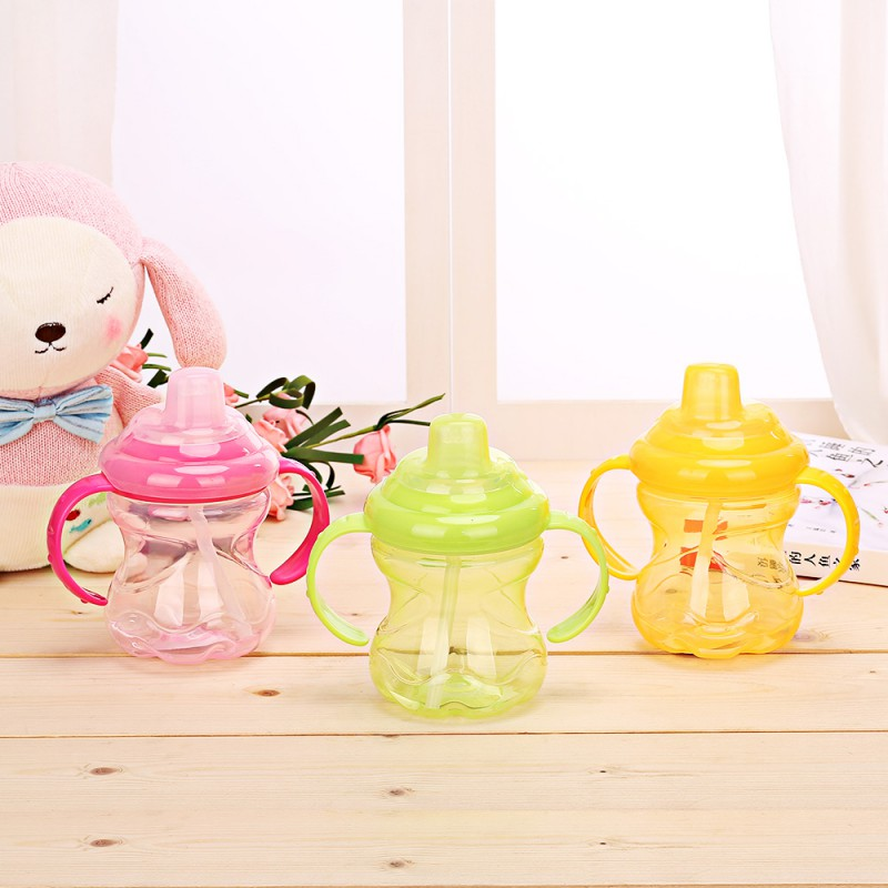 230ml Cute Baby Straw Cup Infant Newborn Bottle Children Learn Feeding Drinking Handle Bottle Kids Straw Juice Water Bottles