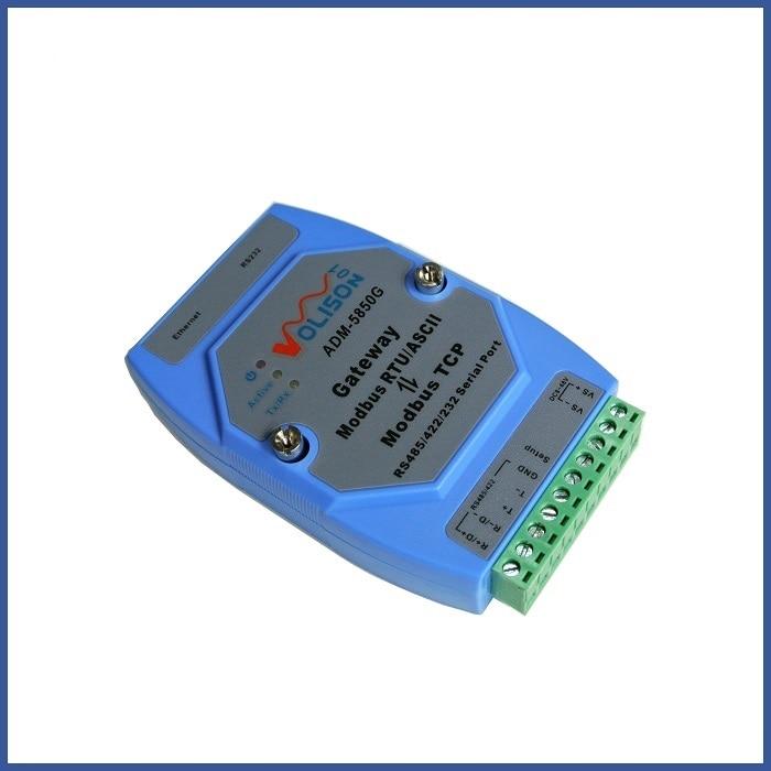 ADM-5850G industrial Modbus gateway server, MODBUS RTU/ASCII to Modbus TCP, supports PLC serial port