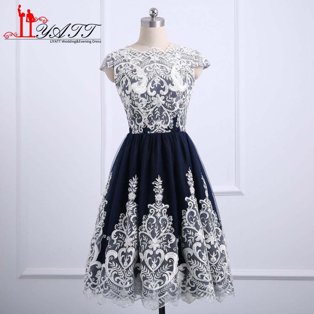 New Design 2018 Prom Dresses Short Party Dress White Lace Navy Tulle Girls  Homecoming Gown Custom Made 2dffe9f132b2