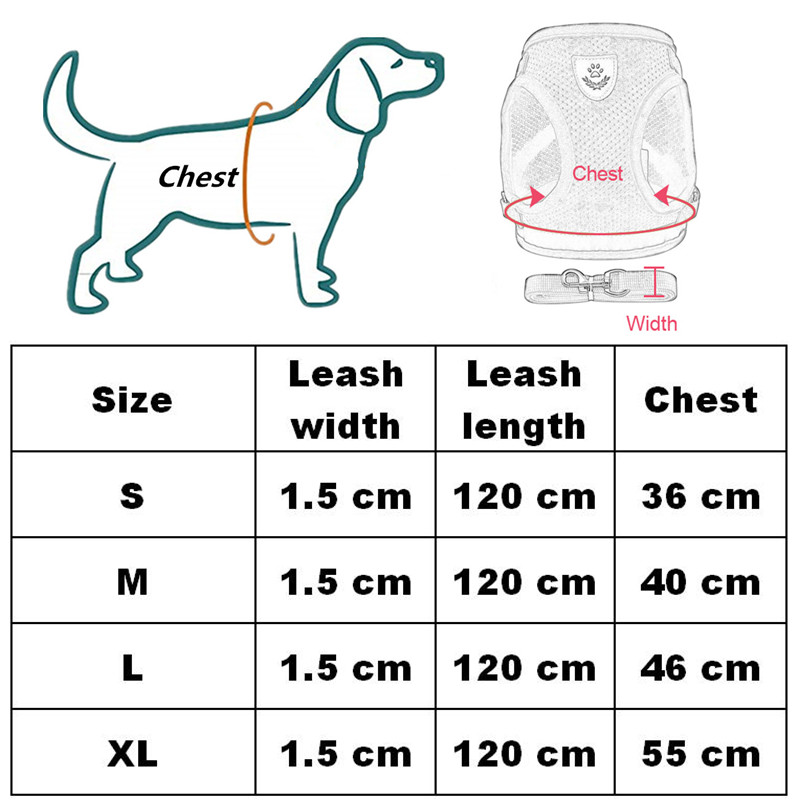 Dog Harness for Chihuahua Pug Small Medium Dogs Nylon Mesh Puppy Cat Harnesses Vest Reflective Walking Lead Leash Petshop 7