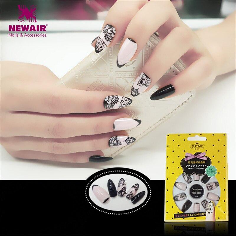 Stiletto Nails Full Cover False Nails with Glue Acrylic Nail Tips UV ...