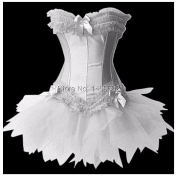 free shipping Swan Costume , Satin Lace Up Overbust Corset with Tutu Skirt, Halloween Outfit Costumes,Dropshippingwalsonr