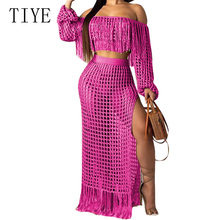 TIYE Women Summer Tassel Two Piece Set See Through Hollow Out Club Party Dress Sexy Off Shoulder Fringe Beach Maxi Dresses