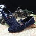 2017 Hombres Negro Holgazán Zapatos Slip-on de Los Holgazanes de Cuero Nobuck de Moda Estilo de La Vendimia de Los Hombres de Conducción Casual Zapatos Planos Azules A1124